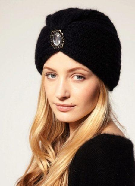 шапки вязаные женские осень зима 2018 2019: чалма черная