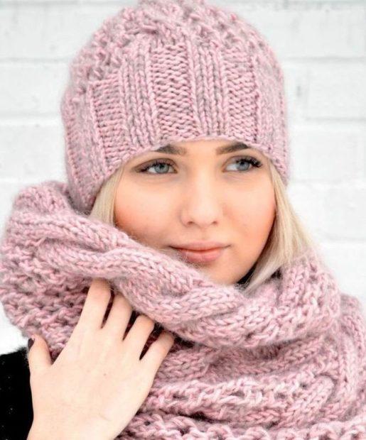 шапки вязаные женские осень зима 2018 2019: китайская розовая