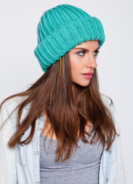 шапки вязаные женские осень зима 2018 2019: широкая бирюзовая