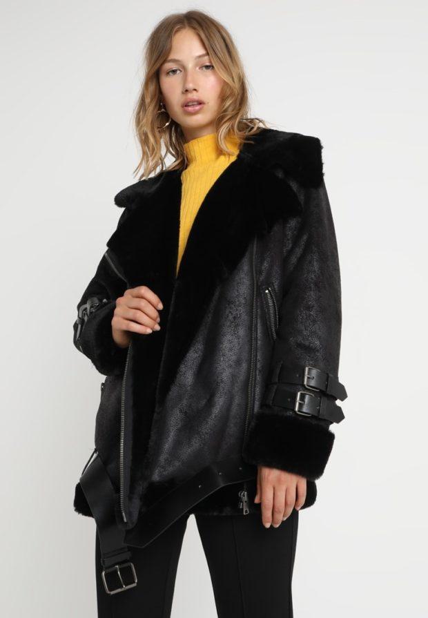 Женская зимняя куртка с экокожи 2019-2020
