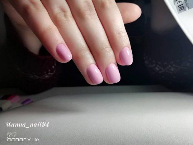 шикарный нежно-розовый маникюр