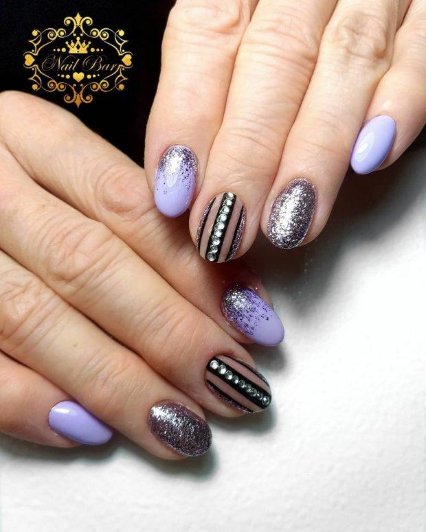 Нежно-фиолетовый дизайн ногтей