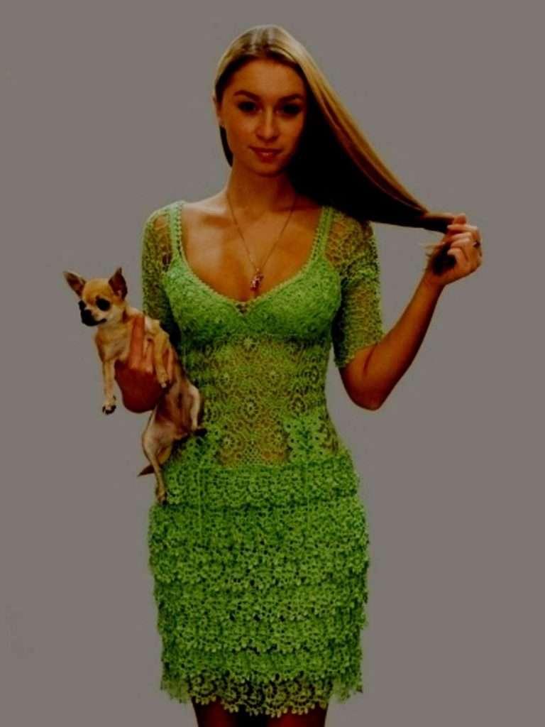 Вязание крючком зелёное платье 849
